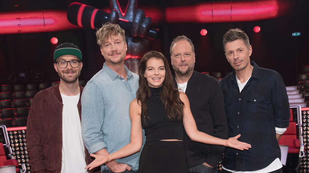 "Die Coaches der siebten Staffel von ""The Voice of Germany"" (v.l.): Mark Forster, Samu Haber, Yvonne Catterfeld, Smudo und Michi Beck."