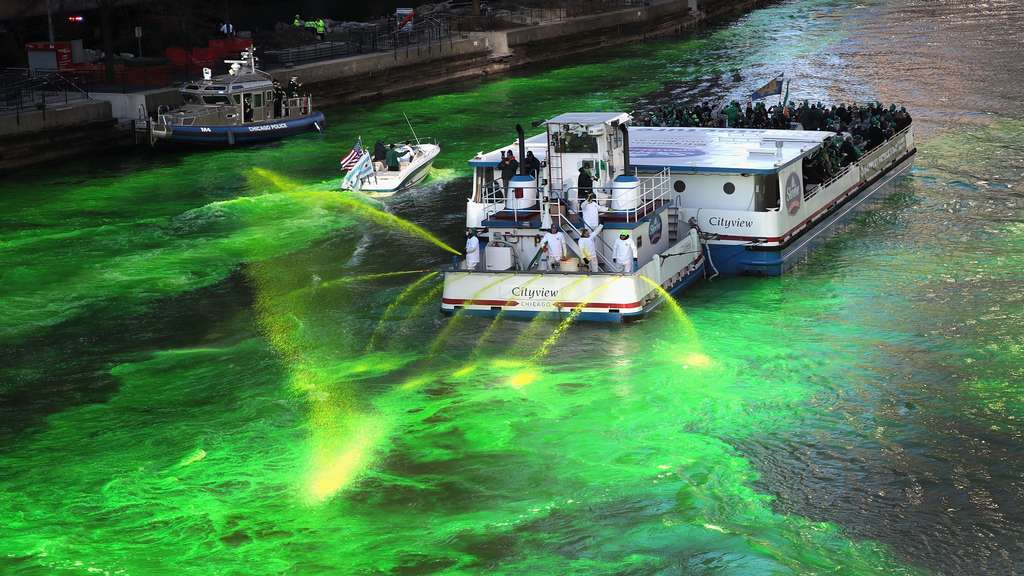Chicago River Is Colored Green To Celebrate St. Patrick&#39s Day